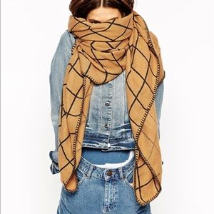 ASOS Oversized Grid Check Blanket Scarf Tan